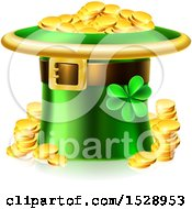 Clipart Of A St Patricks Day Leprechaun Hat Full Of Gold Coins Royalty Free Vector Illustration by AtStockIllustration