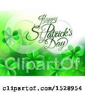 Clipart Of A Happy St Patricks Day Greeting With Shamrocks Royalty Free Vector Illustration by AtStockIllustration