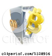Poster, Art Print Of 3d Gold Bitcoin Currency Symbol And Light Emerging From A Safe Vault
