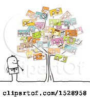 Poster, Art Print Of Stick Man Looking At A Tree With Pictures