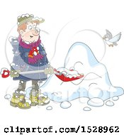 Clipart Of A Man Shoveling Snow Royalty Free Vector Illustration