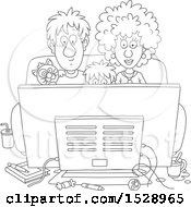 Clipart Of A Black And White Boy And His Parents Watching A Movie With Their Cat Royalty Free Vector Illustration