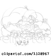 Clipart Of A Black And White Car Buried In Snow With A Cat Peeking Over The Hood To Watch Birds Royalty Free Vector Illustration