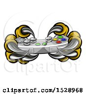 Clipart Of A Monster Claws Playing With A Video Game Controller Royalty Free Vector Illustration