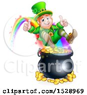 Clipart Of A St Patricks Day Leprechaun Giving Two Thumbs Up Riding A Rainbow To The Top Of A Pot Of Gold Royalty Free Vector Illustration