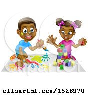 Clipart Of A Happy Black Boy Painting And Girl Playing With Blocks Royalty Free Vector Illustration