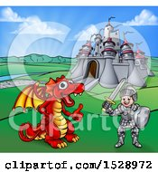 Clipart Of A Knight And Dragon By A Castle Royalty Free Vector Illustration