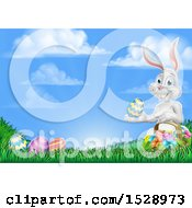 Happy White Easter Bunny Rabbit With A Basket And Eggs In Grass