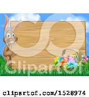 Happy Brown Easter Bunny Rabbit Pointing Around A Wood Sign Against Sky