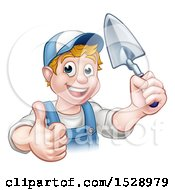 Clipart Of A Happy White Male Gardener Holding A Garden Trowel And Giving A Thumb Up Royalty Free Vector Illustration
