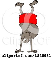Clipart Of A Cartoon Black Man Doing A Hand Stand In Boxers Royalty Free Vector Illustration