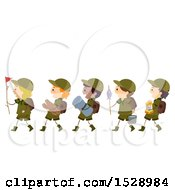 Clipart Of A Line Of Scout Boys Carrying Camping Gear Royalty Free Vector Illustration by BNP Design Studio