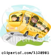 Clipart Of A Bus Full Of Scout Boys Royalty Free Vector Illustration by BNP Design Studio