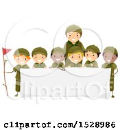 Leader And Group Of Scout Boys Around A Banner