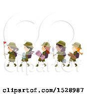 Clipart Of A Line Of Scout Girls Carrying Camping Gear Royalty Free Vector Illustration by BNP Design Studio