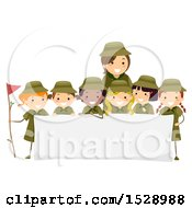 Clipart Of A Leader And Group Of Scout Girls Around A Sign Royalty Free Vector Illustration