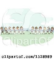 Clipart Of A Sketched Group Of Scout Girls Playing Tug Of War Royalty Free Vector Illustration by BNP Design Studio