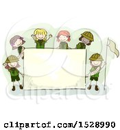 Clipart Of A Sketched Group Of Scout Girls Around A Sign Royalty Free Vector Illustration