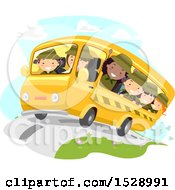 Clipart Of A Group Of Scout Girls On A Bus Royalty Free Vector Illustration by BNP Design Studio