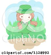 Clipart Of A Sketched Scout Girl In A Green Uniform Near The Woods Royalty Free Vector Illustration
