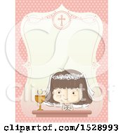 Clipart Of A Sketched Girl At Her First Communion In A Border With Text Space Royalty Free Vector Illustration