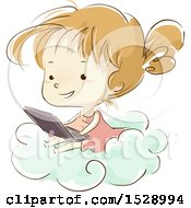 Clipart Of A Sketched Girl Using A Laptop On A Cloud Royalty Free Vector Illustration