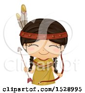 Clipart Of A Happy Native American Girl With A Bow And Arrow Royalty Free Vector Illustration