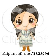 Clipart Of A Happy Apache Native American Girl Royalty Free Vector Illustration