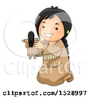Clipart Of A Happy Native American Girl Holding A Doll Royalty Free Vector Illustration
