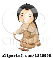 Clipart Of A Happy Native American Girl Making Fire With A Bow Drill Royalty Free Vector Illustration by BNP Design Studio