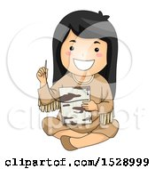 Clipart Of A Happy Native American Girl Stitching Together Birch Bark Royalty Free Vector Illustration