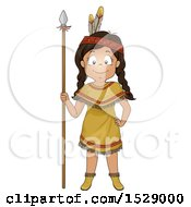 Happy Native American Girl With A Hunting Spear