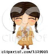 Clipart Of A Happy Sioux Native American Girl Royalty Free Vector Illustration