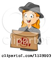 Clipart Of A Red Haired Secret Agent Girl Holding An Envelope Royalty Free Vector Illustration