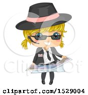 Clipart Of A Blond Secret Agent Girl Holding A Map Royalty Free Vector Illustration