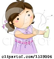 Clipart Of A Brunette Girl Applying Mosquito Repellent Royalty Free Vector Illustration by BNP Design Studio