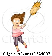 Clipart Of A Girl Caught In A Strong Wind Storm Royalty Free Vector Illustration