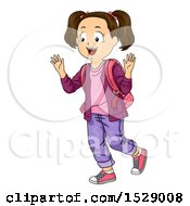 Clipart Of A Happy Brunette School Girl Greeting Someone Royalty Free Vector Illustration