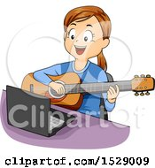 Clipart Of A Girl Taking Guitar Lessons Online Royalty Free Vector Illustration