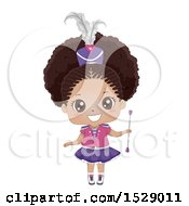 Clipart Of A Cute Black Majorette Girl Holding A Baton Royalty Free Vector Illustration