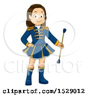 Clipart Of A Majorette Girl Holding A Baton Royalty Free Vector Illustration