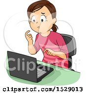 Girl Thinking And Learning Online