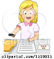 Clipart Of A Blond Girl Inviting People To Register Royalty Free Vector Illustration