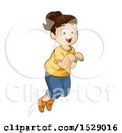 Clipart Of A Happy Energetic Girl Hopping Royalty Free Vector Illustration