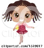 Clipart Of A Happy Girl Holding A Gymnastics Ball Royalty Free Vector Illustration