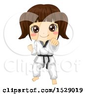 Clipart Of A Karate Girl In A Taekwondo Pose Royalty Free Vector Illustration