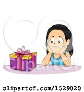 Clipart Of A Girl Looking Impatient To Open Her Birthday Present Royalty Free Vector Illustration