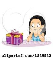 Poster, Art Print Of Girl Looking Impatient To Open Her Birthday Present