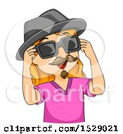 Clipart Of A Girl Wearing A Disguise Royalty Free Vector Illustration