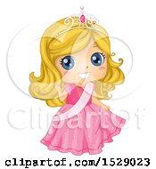 Clipart Of A Blond Princess Girl Wearing A Pink Gown And Sash Royalty Free Vector Illustration